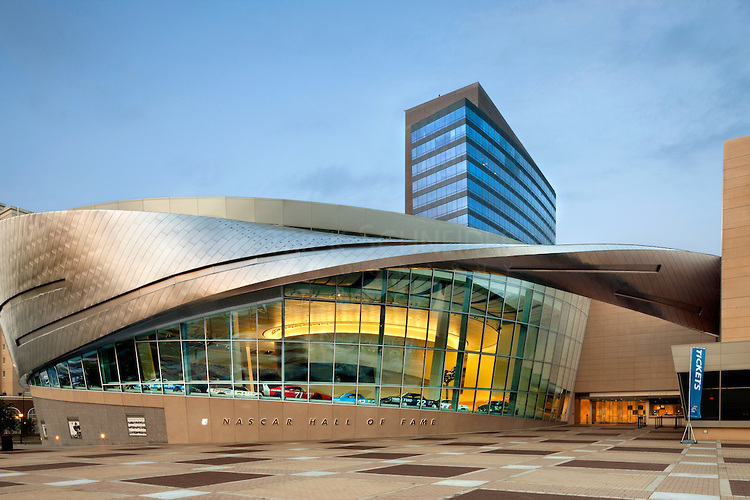 Exterior photography of NASCAR Hall of Fame building in Charlotte, North Carolina
